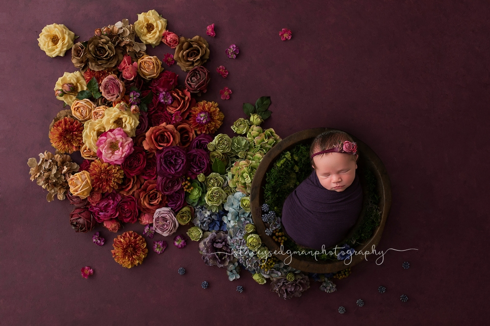 Baby wrapped in purple on luisa dunn digital background